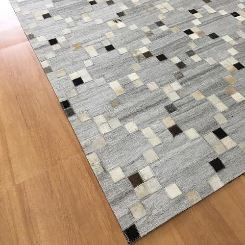 Handmade Jacquard Leather Gray   Charcoal Rug