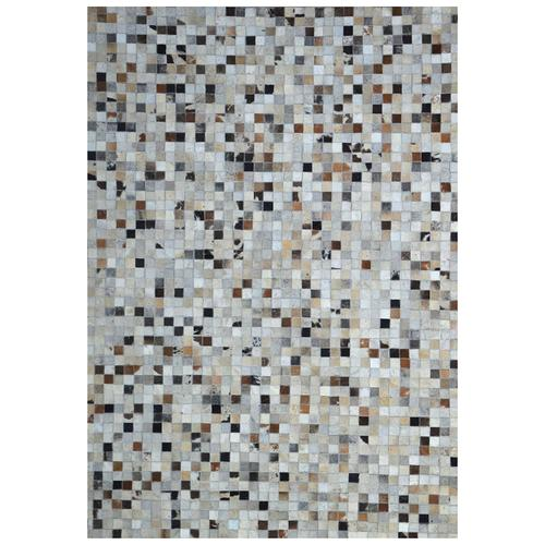 Handmade Jacquard Leather Ivory   Brown Rug   Leather Rugs