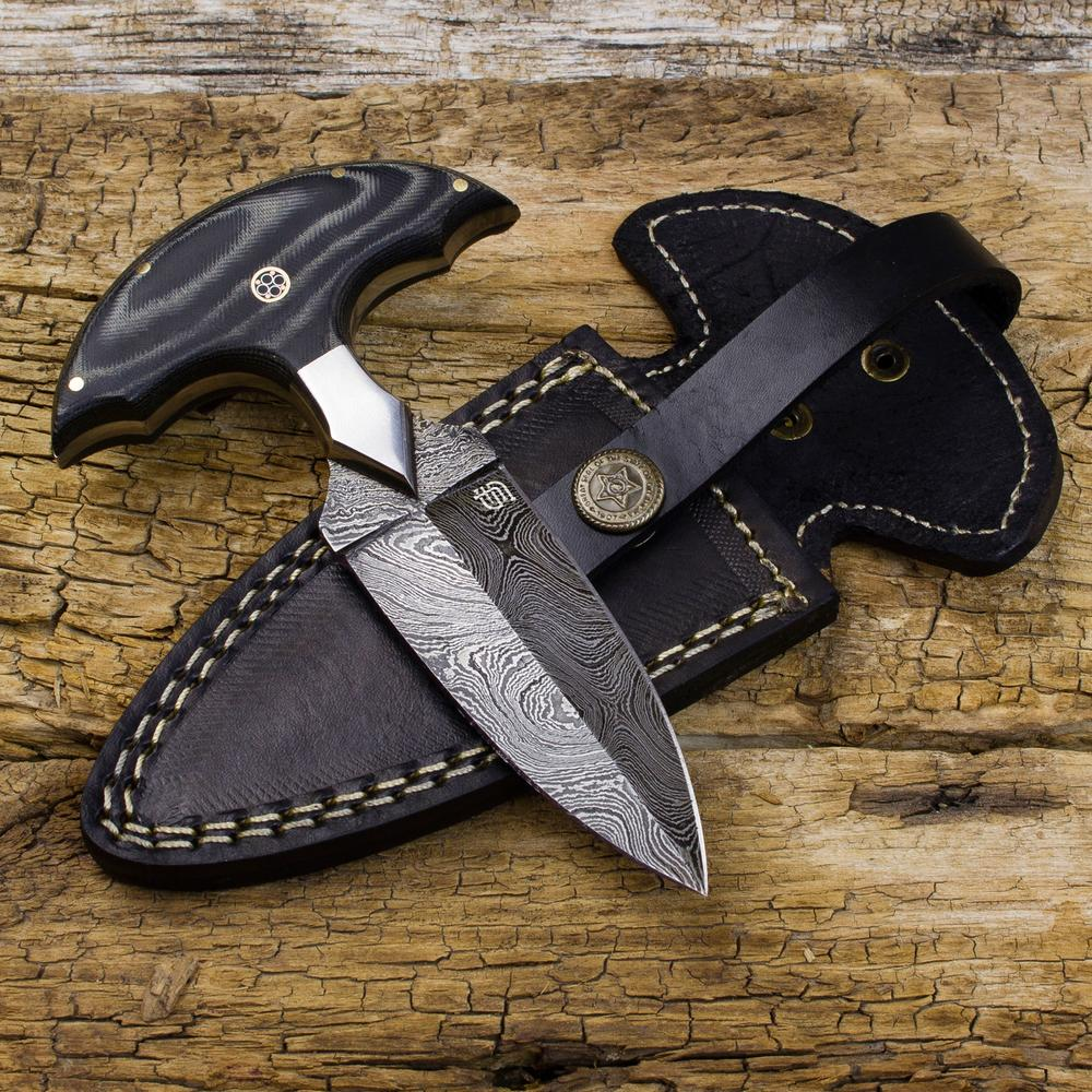 Monk's Dagger Handmade Damascus Steel Push Dagger | Forseti
