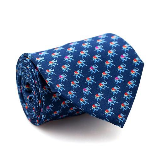 Necktie | Dark Blue with Elephant Pattern