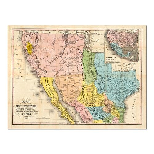 Map of California, New Mexico & Texas | Paper