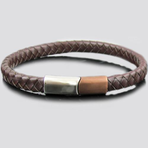 Brown Leather Chocolate/Steel Stainless Steel Bracelet
