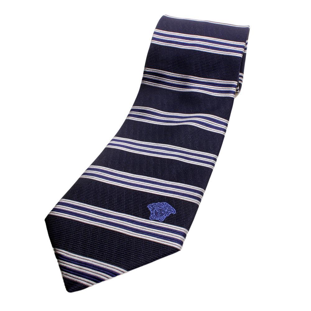 versace silk tie navy bluesilverblue
