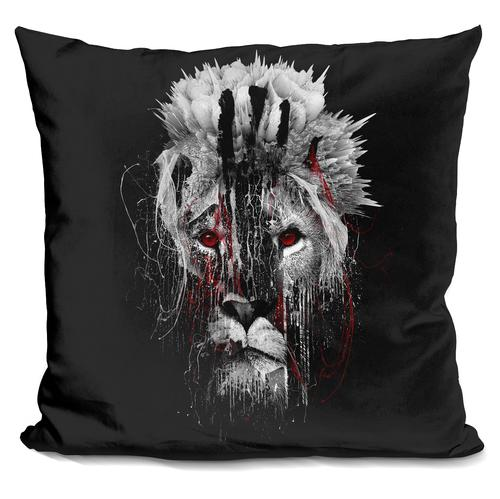 Riza Peker 'LION - RED EYE' Throw Pillow
