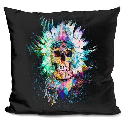Riza Peker 'Skull Wild Spirit' Throw Pillow