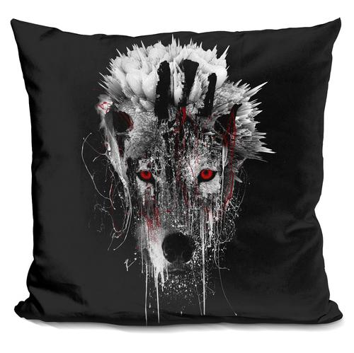 Riza Peker 'WOLF - RED EYE' Throw Pillow