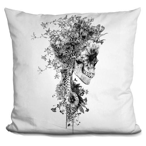 Riza Peker 'Skull BW' Throw Pillow