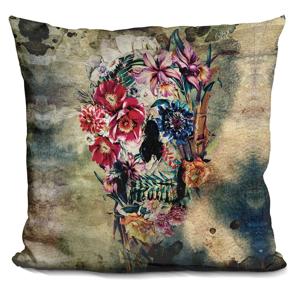 Throw Away Old Pillows : Riza Peker Skull on old grunge Throw Pillow