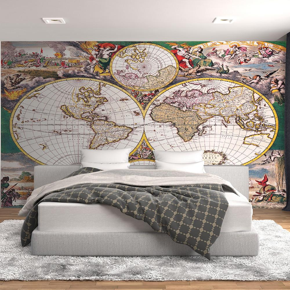 Colorful old world map wall mural for Antique map mural