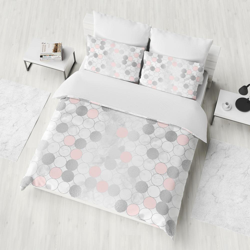 Silver And Pink Geometry Duvet Cover Set