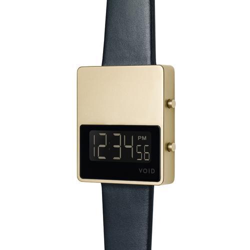 Matte Gold LCD w Black leather strap | Gold buckle