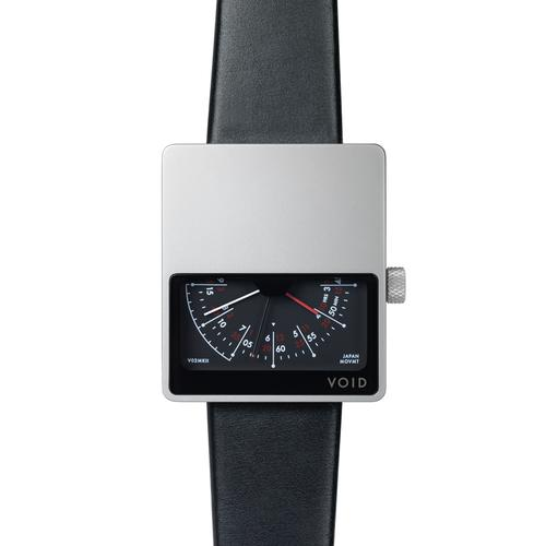 Matte Silver Analogue w Black leather strap | Silver buckle