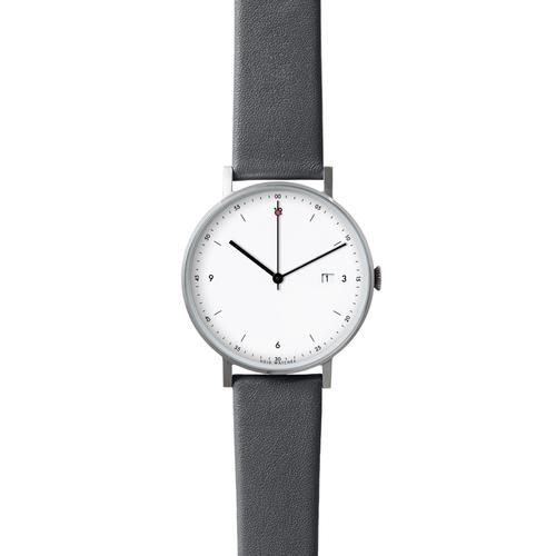 Silver Round Date | Dark Grey leather strap | White dial