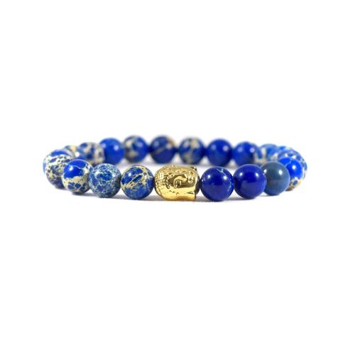 Blue Deep Sea Jasper | 24kt Gold Buddha